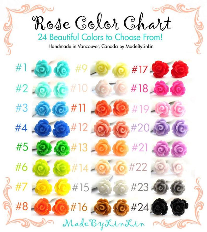 3fabd75cfe03 SALE Ten Pairs Rose Stud Earrings You Choose 24 Colors