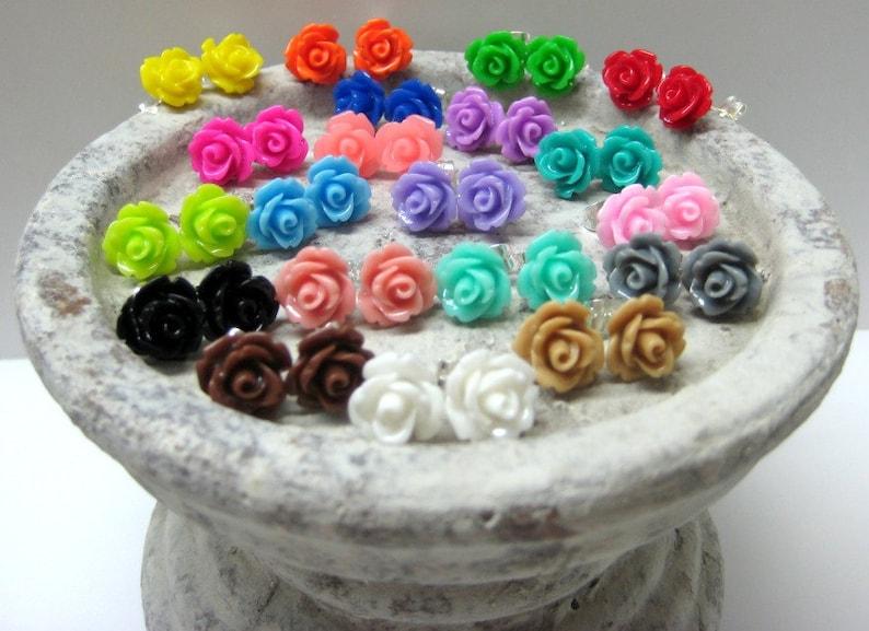74abc0813e0d SALE Three Pairs Rose Stud Earrings You Choose 24