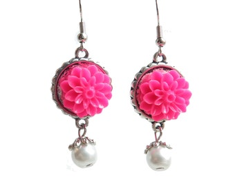 Hot Pink Chrysanthemum Pearl Dangle Earrings