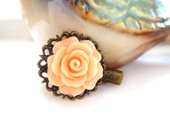 Peach Rose Antique Brass Alligator Hair Clip