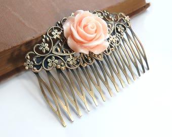 Peach Rose Antique Brass Filigree Hair Comb
