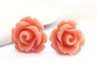 SALE - Peach Rose Stud Earrings