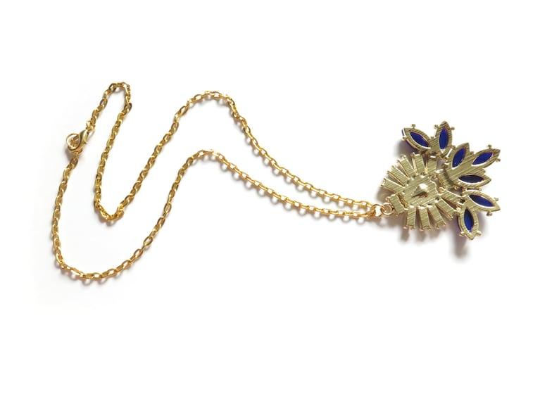 Navy Rhinestone Gold Statement Necklace