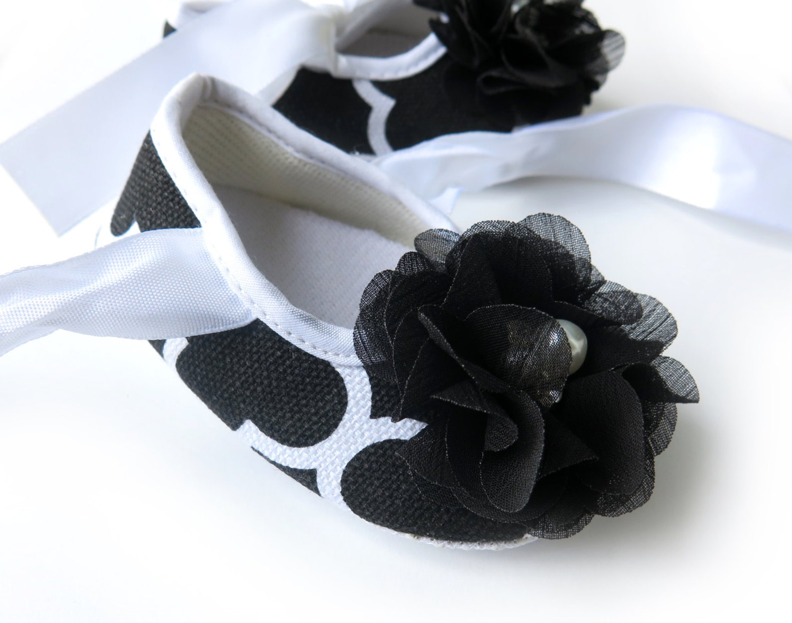 3-6 months black and white baby ballet flats - ready to ship!