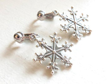 Snowflake Clip On Earrings