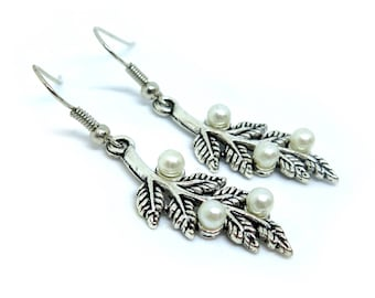 Dangling Leaves with Pearls Silver Earrings