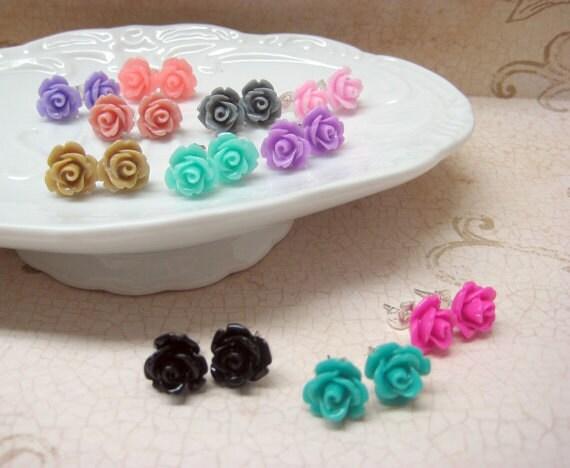 45dcdce939da SALE - One Pair - Rose Stud Earrings - You Choose - 24 Colors