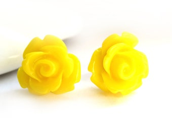 SALE - Yellow Rose Stud Earrings