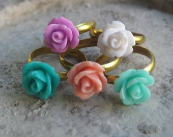 One Rose Ring - You Choose - 24 Colors
