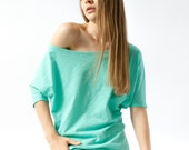 Off the shoulder top in mint green color and cotton