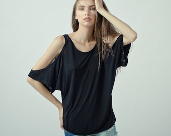 facf908e816 Black cut out shoulder top, oversized open shoulder top shortsleeve, cold  shoulder tunic top, slub cotton exposed shoulder top