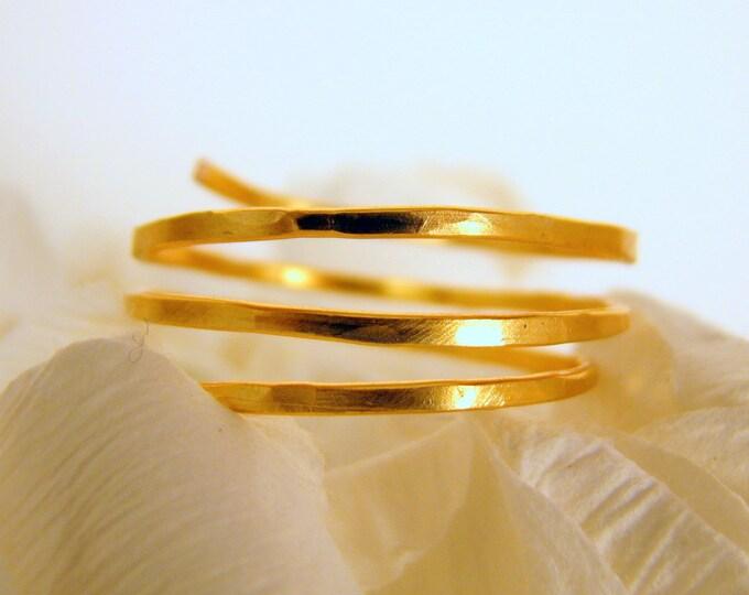 Adjustable Ring Gold Hammered