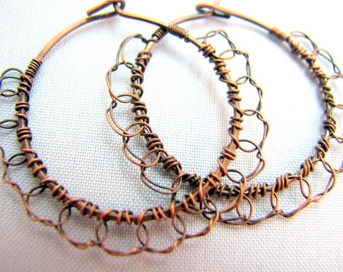 Wire Crochet Hoop Earrings - 1.5 inch
