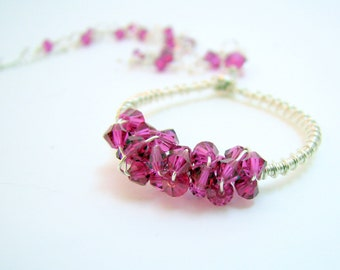 As Seen in Golden Globes Swag - Wreath Wire Wrapped Necklace Hot Pink Crystals