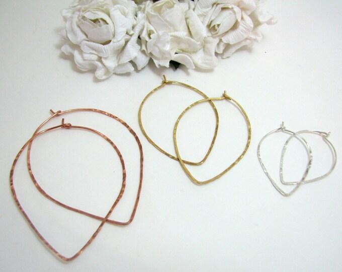 Hammered Wire Teardrop Hoop Earrings