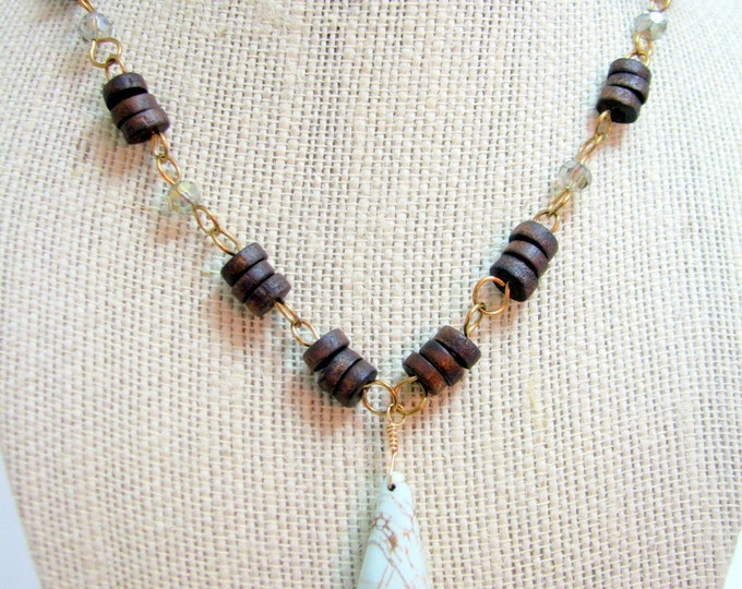 Turquoise Wire Wrapped Necklace Wooden Beads Smoky Crystals