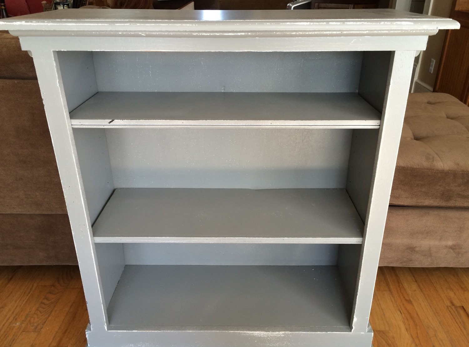 Bookcase Gray Distressed Shabby Cottage Chic