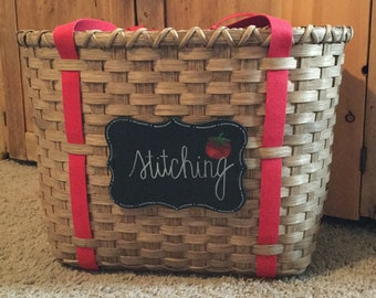 Stitching Tote Basket, Cross Stitch Storage