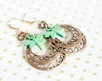 Brass Filigree Hoop and Verdigris Dragonfly Earrings // Antiqued Brass Hoop Earrings // Verdigris Earrings // Gifts for Her / Gifts Under 20