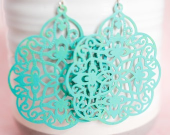 Big Turquoise Patina Filigree Earrings // Statement Earrings // Patina Earrings // Blue Green Earrings // Gifts for Her // Flower Earrings