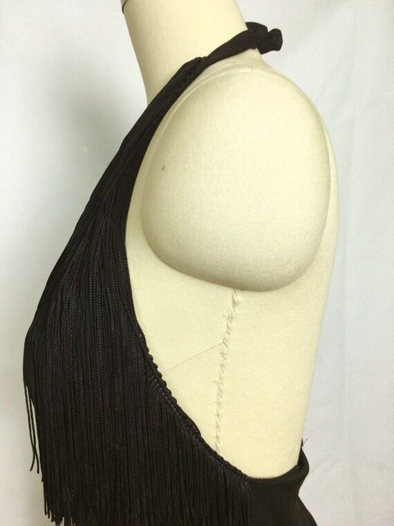 Lilli Diamond Black Fringe Maxi Dress~ 1970s 70s … - image 8