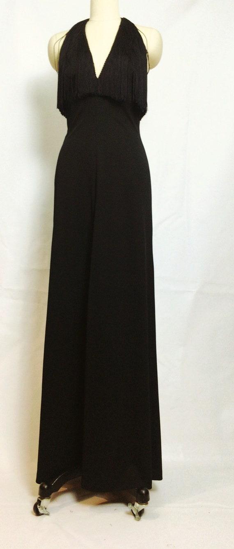 Lilli Diamond Black Fringe Maxi Dress~ 1970s 70s … - image 5