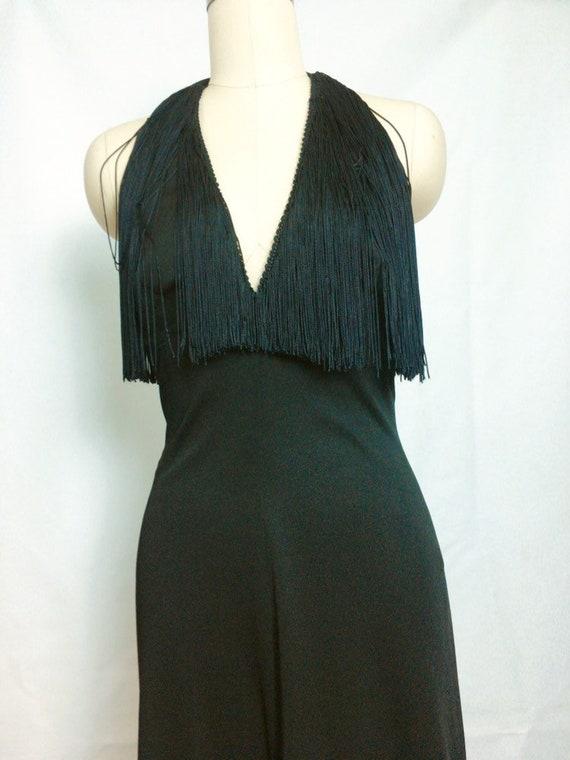 Lilli Diamond Black Fringe Maxi Dress~ 1970s 70s … - image 1
