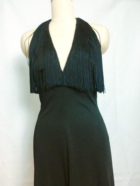 Lilli Diamond Black Fringe Maxi Dress~ 1970s 70s S