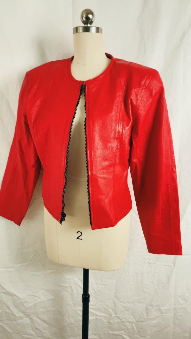Red Leather jacket by CHIA~ Avant-garde Chunky zipper minimalist cropped Vintage 80s Sz M 36\u201d