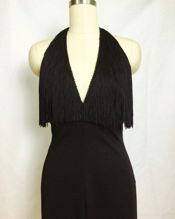 Lilli Diamond Black Fringe Maxi Dress~ 1970s 70s … - image 4