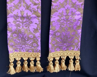 READY to SHIP clergy stole, priest stole, vestment, Purple and gold