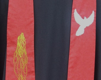 Clergy Stole, vestment, Red , flames,dove, Pentecost, Ordination MADE TO ORDER