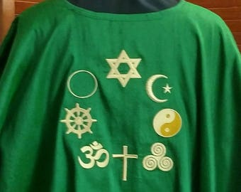 Chasuble for Pastors and Priests with ring of Interfaith Symbols,  Any color or fabric MADE to ORDER