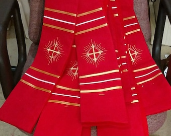 Clergy Stole, Pastor's Stole, Priest Stole, Vestment, white, Red, Green, Purple, Blue, MADE to ORDER