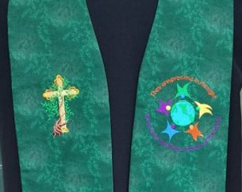 clergy stole, Priest Stole, Pastor's Stole, vestment  Children of the World, MADE to ORDER