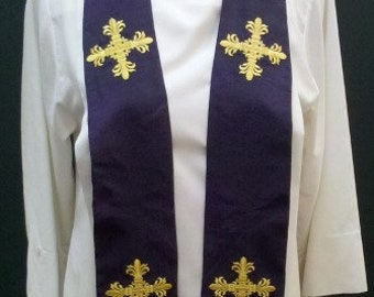 Clergy Stole, Vestment with Small Elegant Crosses, any Liturgical color, MADE to ORDER