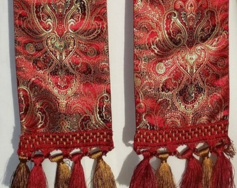 Clergy Stole, Pastors Stole, Priest Stole, vestment, Brocade with fringe Red or Gold