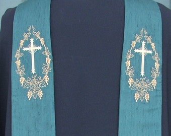 Green clergy stole, vestment, Goldwork cross with grape frame As shown, MADE TO ORDER