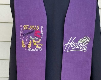 Clergy stole, vestment, Lent, Purple, Reversible with Wood Cross, names for Christ and Hosanna MADE TO ORDER