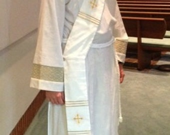 Deacon's Stole, Vestment, white, Red, Green, Purple, Blue, MADE to ORDER