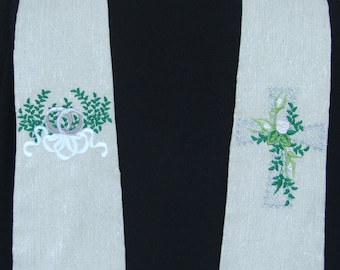 WEDDING Clergy Stole, Pastor Stole, Vestment, White, Custom colors, MADE to ORDER