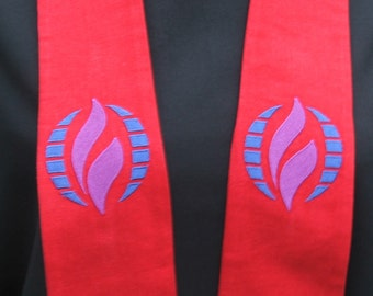 clergy stole, Priest stole, Pastor stole, vestment, MCC logo, Red, MADE to ORDER