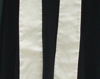 Clergy Stole, vestment, White with multicolored Butterfly, MADE TO ORDER