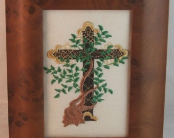 Embroidered Tree of Life Cross