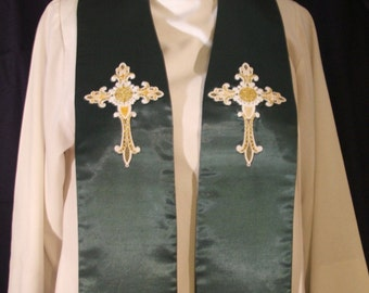 Clergy Stole,vestment, gold and white lace cross, Any Color MADE TO ORDER