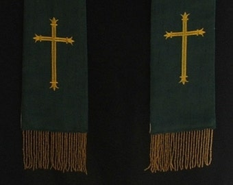 clergy stole,vestment, simple cross, Any color MADE TO ORDER