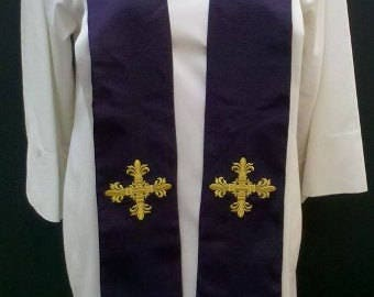 Deacon's Stole, Red, Green, Purple, Blue, white MADE TO ORDER