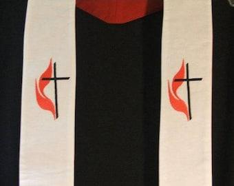 Clergy Stole, Pastor Stole, Priest Stole, Vestment, White, United Methodist symbol, UMC, Made to Order