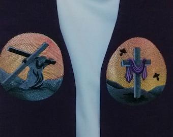 LENT Purple clergy stole, vestment, Lent crosses MADE to ORDER