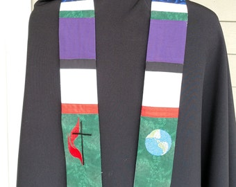 clergy stole, Pastor's Stole, Priest Stole,Chaplain length with liturgical colors MADE to ORDER